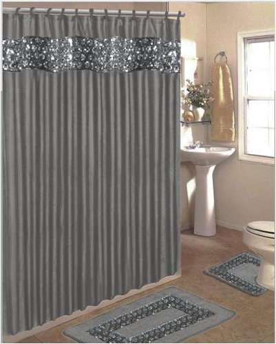 SINATRA BLING SILVER GREY FABRIC SHOWER CURTAIN COVERED RINGS AREA RUG CONTOUR