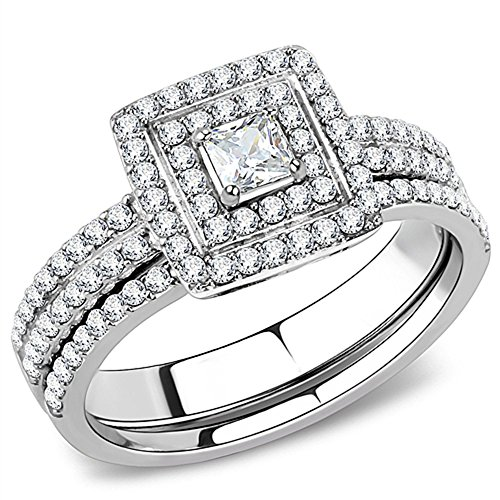 Vip Jewelry Co 1.25 Ct Halo Princess Cut CZ Stainless Steel Wedding Ring Set Women's Size 5-10 ()