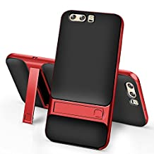 MOONCASE Huawei P10 Case, Dual Layer Hybrid Anti-Scratch TPU +PC Bumper Frame Kickstand Protective Case Cover for Huawei P10 (Black Red)