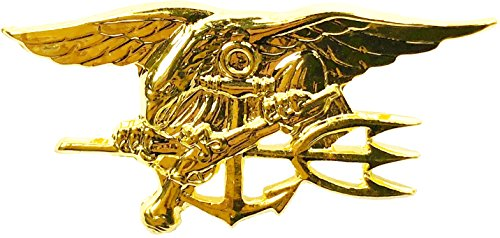 Naval Special Warfare Insignia Pin US Navy SEAL Team Trident Military USN Mini Lapel Gold (1.5 inches) (Navy Seal Congressional Medal Of Honor Recipients)