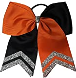 Teamhairbows.com 6 1/2'' Orange and Black with Silver Glitter Tips