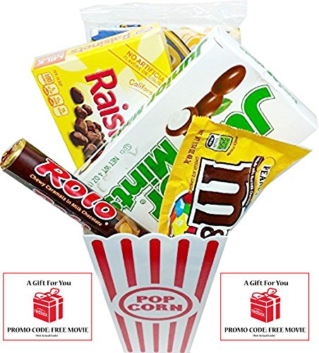 Movie Night Popcorn, Candy And Redbox Movie Gift Basket ~ Includes Movie Theater Butter Popcorn, Concession Stand Candy and a Gift Card for 2 Free Redbox Movie Rentals (Junior Mints) ()