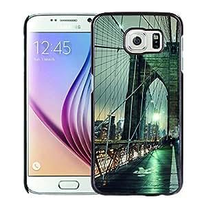 Fashionable Custom Designed Hard Shell Case For Samsung Galaxy S6 With Brooklyn Bridge night New York USA Black Phone Case
