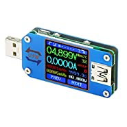 USB Meter, DROK Digital Multimeter USB 2.0, Multifunctional Electrical Tester, Capacity Voltage, Current Power Meter Detector Reader with Dual USB Ports, LED Display, 7 Modes