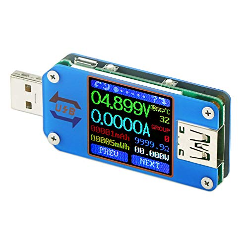 (USB C Power Meter, DROK Type C Meter, UM25 Type C Voltage and Current Tester, LCD Display DC 4-24V 5A Test Speed of Charger Cables, Capacity of Power Bank, QC 2.0 3.0)