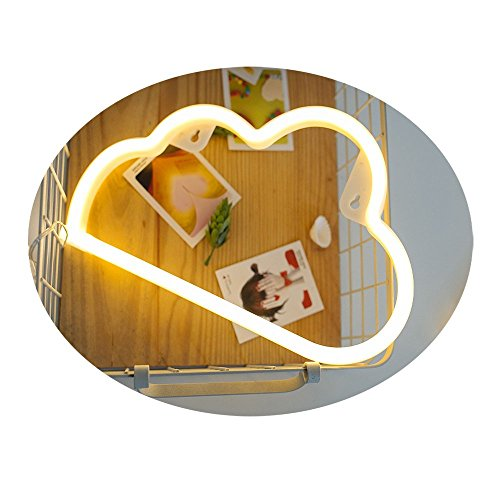 White Cloud Shape Neon Tube Led Wall Light USB Charge Battery Powered Children's Room Night Light for Baby Kid Girl Bar Atmosphere Light Dormitory Room Decoration Props (Warm White - Cloud)