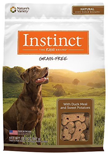 Instinct Grain Free All Natural Oven-Baked Biscuits with Duck Meal & Sweet Potatoes Dog Treats by Nature's Variety, 20 oz. Bag