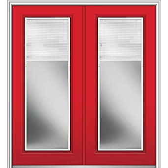 National Door Company Z024900L Fiberglass Smooth Red Saffron Left Hand  In Swing Prehung Double Entry Door, Lowe Glass With RLB, Full Lite, ...