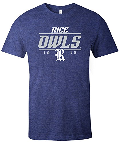 NCAA Rice Owls Tradition Short Sleeve Tri-Blend T-Shirt, Navy,Navy (Basketball Owls)