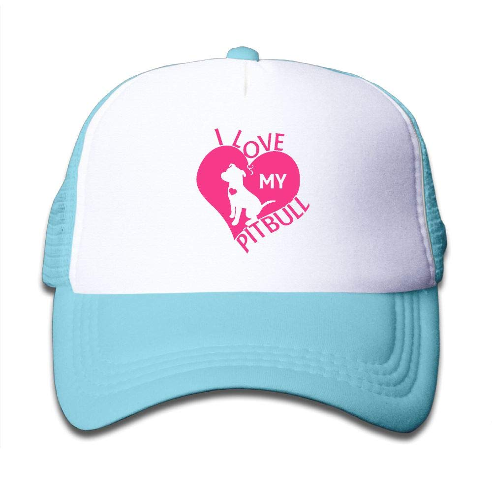 Clarissa Bertha I Love My Pitbull Kids Boys' Girls' Baseball Caps Mesh Hats