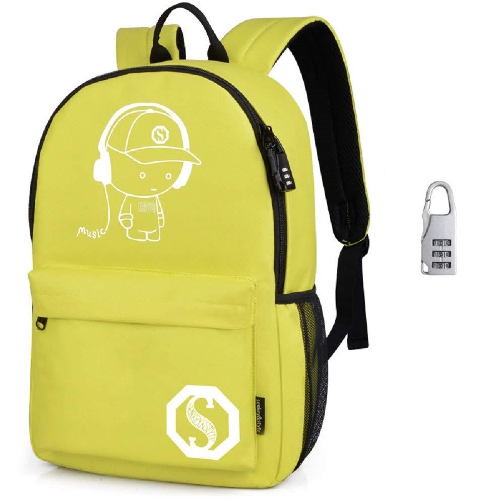 Mochilas Escolares, Mochila Luminosa de Anime Mochila Mochila de Hombro con Mochila Escolar con Cable USB y Bolsa de Bloqueo y lápiz para Adolescentes niñas (Amarillo) UKLSCB20180817
