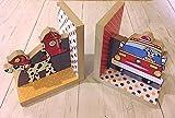 Firetruck Kids Bedroom Baby Nursery Wood Bookends BE0026