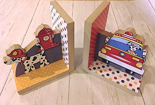 Firetruck Kids Bedroom Baby Nursery Wood Bookends BE0026 ()