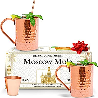 Benicci Moscow Mule Copper Mugs - Set of 2 - 100% HANDCRAFTED - Pure Solid Unlined Copper Mugs 16 oz Gift Set with BONUS: Highest Quality Copper Shot Glass and Cocktail Copper Straws