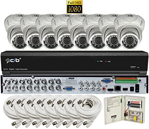 CIB Security H80P16K2T03W-8KIT-W 16CH 1080P Video Security DVR, 2TB HDD 8×2.1-MP 1920TVL Night Vision Camera, White