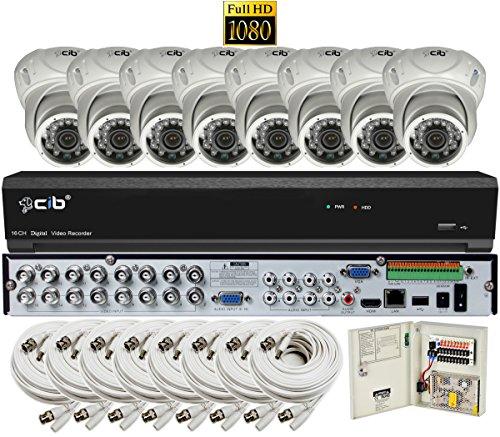 CIB Security H80P16K2T03W-8KIT-W 16CH 1080P Video Security DVR, 2TB HDD 8×2.1-MP 1920TVL Night Vision Camera, White