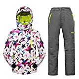 Mingao Big Girls' Thicken Warm Hooded Ski Snowsuit Jacket +Pants Two-piece Set