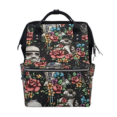 Diaper Bags Floral Wars Black Fashion Mummy Backpack Multi Functions Large Capacity Nappy Bag Nursing Bag for Baby Care for Traveling