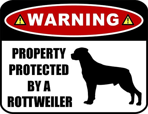 PCSCP Warning Property Protected by a Rottweiler (SILHOUETTE) 11.5 inch x 9 inch Laminated Dog Sign