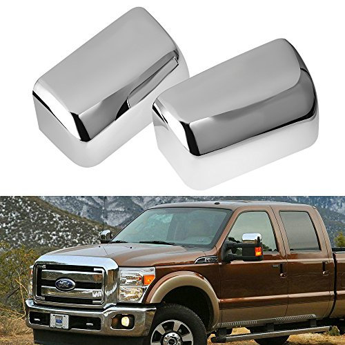 Super Duty Top Half Triple Chrome Plated Mirror Cover Cap for 2008-2016 Ford F250 F350 F450 (2Pcs)