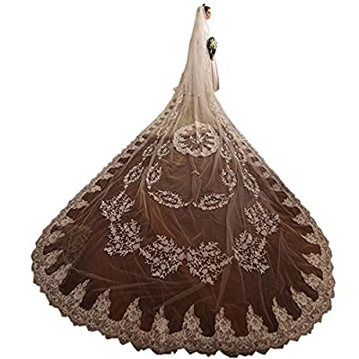 Ike Chimbandi 5M 1Tier White Ivory Cathedral Lace Wedding Bridal Veils with Comb