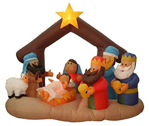 Northlight Inflatable Nativity Scene Lighted Christmas Yard Art Decoration, 6.5'