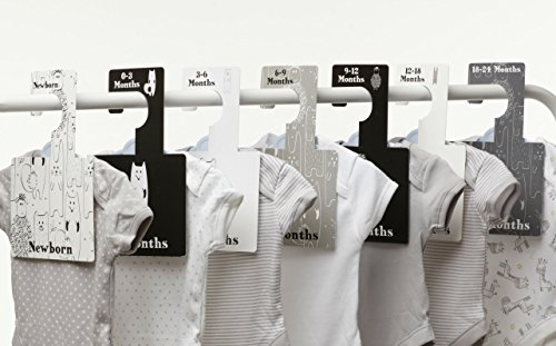 Baby Closet Dividers - Monochrome | Baby Clothes Organizers | Pack of 7 Hangers by Belo and Me
