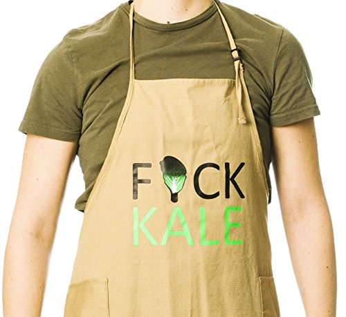 Funny Guy Mugs FCK Kale Adjustable Apron with Pockets - Funny Apron for Men and Women - Perfect for Kitchen BBQ Grilling Barbecue Cooking Baking Crafting Gardening