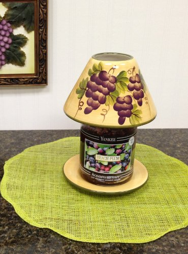 Kitchen Decor Grapes Tuscany Candle Jar Holder Canister (Tuscany Kitchen Canisters)