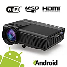 【Android Projector】MAXESLA LED Portable Video Multimedia Home Theater Video Projector Support 1080P HDMI USB SD Card VGA AV for Home Cinema TV Laptop Game iPhone Android Smart phone