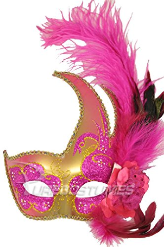 [8eighteen Mardi Gras Swan Mask (Hot Pink/Gold)] (Adult Womens Mardi Gras Queen Costumes)