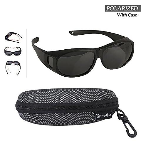 Fit Over Polarized Sunglasses For Men Women - Wear Over your Regular Glasses and Prescription Glasses - Reduces Glare Lightweight & Comfortable - Black Matt