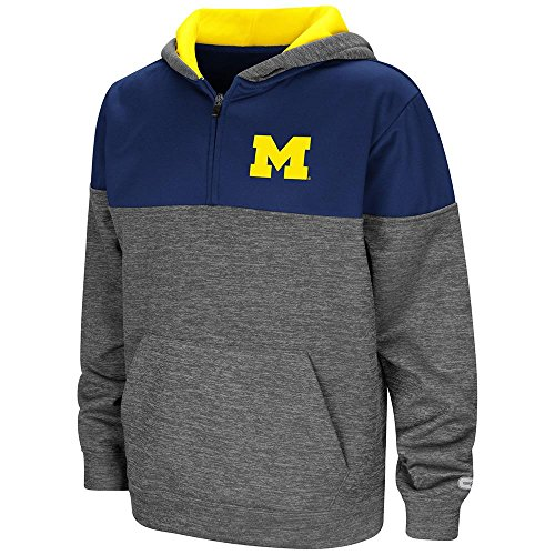 Colosseum Jacket - Colosseum Youth Michigan Wolverines Quarter Zip Pull-Over Hoodie - XL
