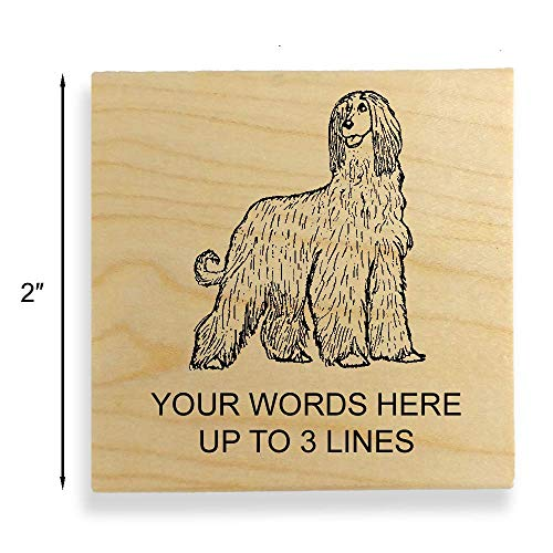 - Afghan Hound Dog Rubber Stamp - Medium Size - 2 inches (50mm) Tall. - Select from Several Sizes - Can be Customized with Your own Address, Message or Text