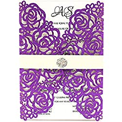 PONATIA 25 PCS 5.12 x 7.1'' 250GSM Laser Cut Hollow Rose Ribbon Wedding Invitation Card Bridal Shower Engagement Birthday Graduation Invitation (Purple Glitter)