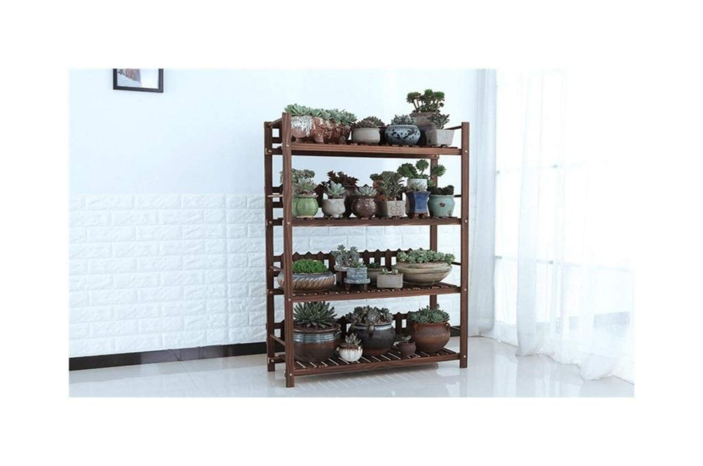 60cm Plant Storage Rack Solid Wood Flower Stand - Indoor Multi-Level Living Room Balcony - Modern Minimalist Hanging Basket Floor Stand (Size   60cm, Style   A)