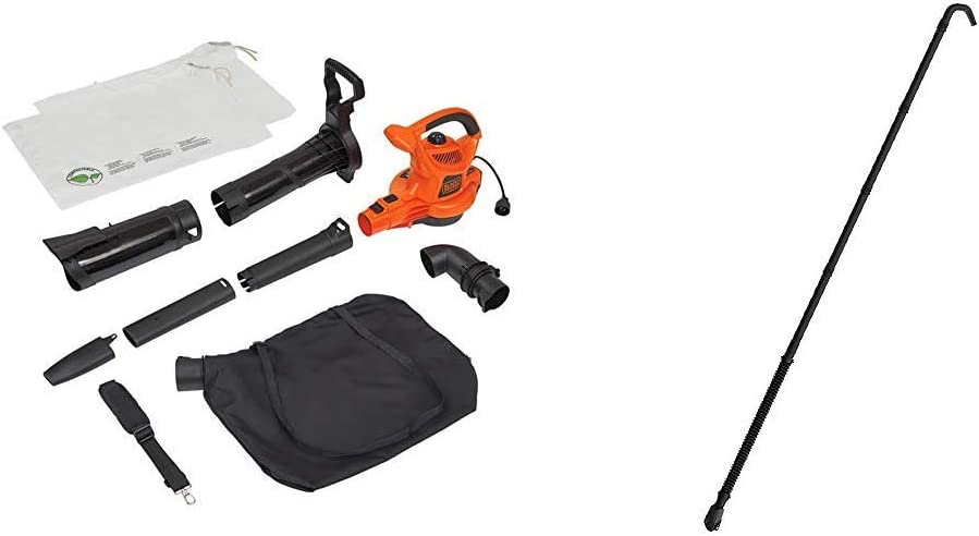 BLACK+DECKER 3-in-1 Electric Leaf Blower/Mulcher Kit with Quick Connect Gutter Cleaner Attachment (BV6000 & BZOBL50)