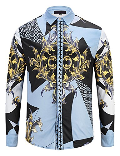 - PIZOFF Mens Long Sleeve Luxury Gold Floral Print Dress Shirt Y1792-72-M