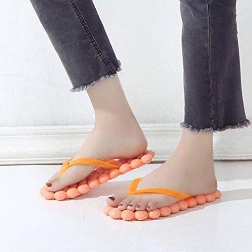 HUHU833 Fashion Women Massage Flat Heel Anti Skidding Beach Shoes Sandals Slipper Orange K6b387FCGT