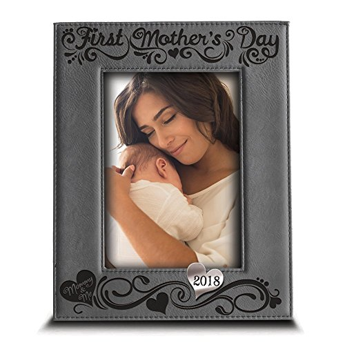 Acrylic Vertical Mirror - BELLA BUSTA Silver Edition-First Mother's Day 2018-Engraved Leather Picture Frame- -Modern Picture Frame- Engraved 2018 silver Mirror Acrylic Piece Integrated (5