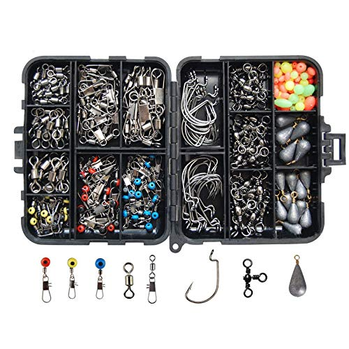 Gorei 177pcs Fishing Accessories Kit Including Jig Hooks Bullet Bass Casting Sinker Weights Different Fishing Swivels…