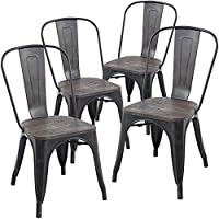Poly and Bark Tolix Style Bistro A Dining Side Chair with Elm Wood Seat (Set of 4), Bronze