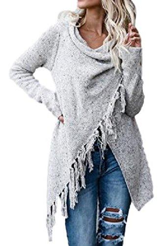 MyuRupi Women's Cardigan Tassel Poncho Sweater Long Sleeve Wrap Loose Tunic Cowl Neck (Large, Gray)