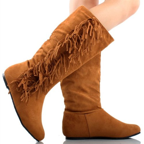 Amazon.com | Women's Faux Suede Fringe Moccasin Tassle Knee High ...