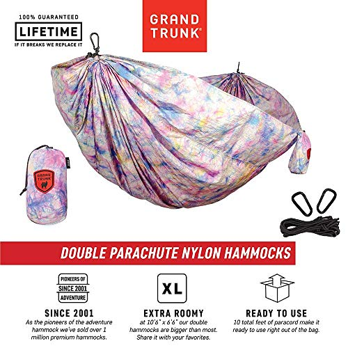 Grand Trunk Double Parachute Printed Nylon Hammock: Portable with Carabiners and Hanging Kit - Perfect for Outdoor Adventures, Backpacking, and Festivals, Tie-Dye