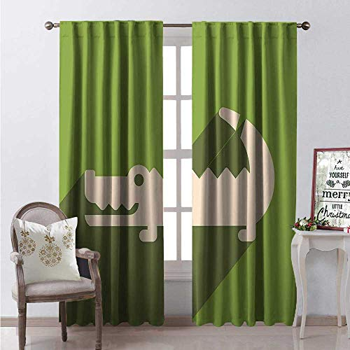 Hengshu Alligator Thermal Insulating Blackout Curtain Minimalist Flat Design of Long Shadow Australian Crocodile Blackout Draperies for Bedroom W96 x L84 Lime Green Olive Green and Ivory