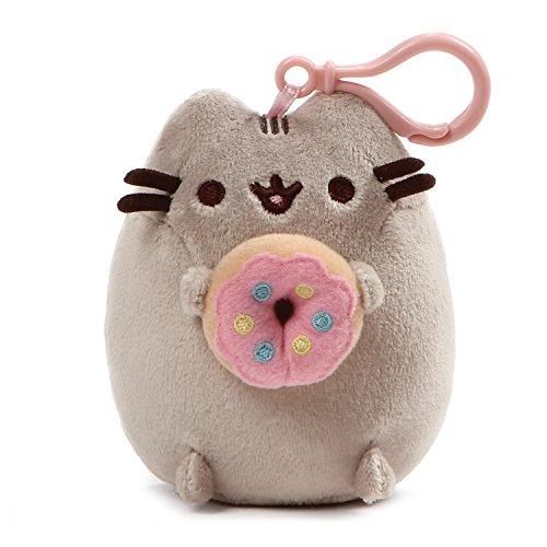 GUND Pusheen Snackable Donut Cat Plush Stuffed Animal Backpack Clip, Gray, 5