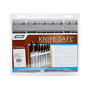 "Camco Knife Safe - Securely Mounts on Wood or Metal Surfaces, Holds 7 Cooking and Carving Knives, Organize and Store Knives While Creating Space - (9"" x 11"") Gray (43585)"