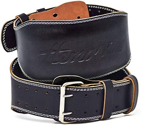 Hemori Genuine Cowhide Leather Pro Weight Lifting Belt for Men and Women Durable Comfortable Adjustable with Buckle Stabilizing Lower Back Support for Weightlifting