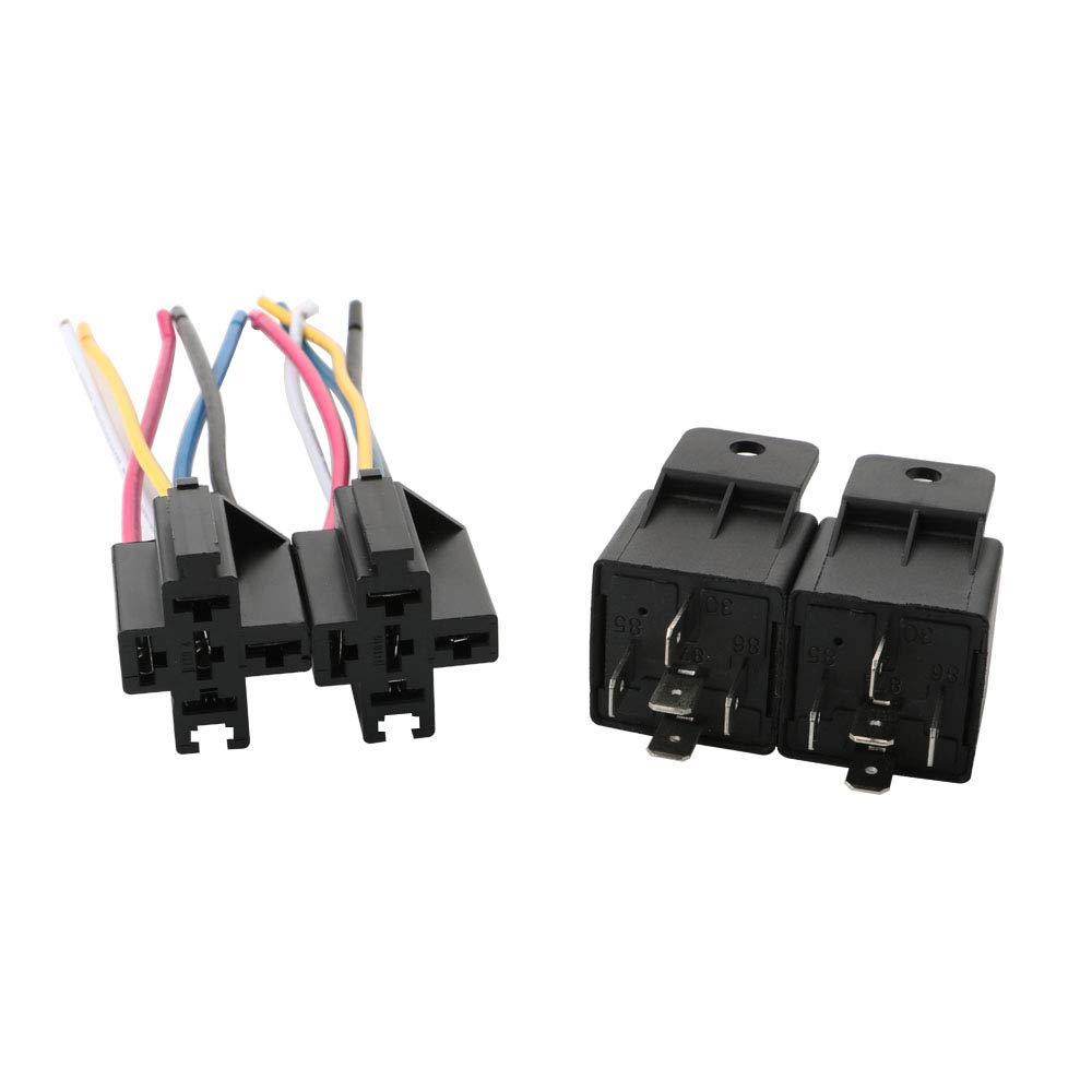 TOOHUI/® 12V 40A Car Relay Harness 5 Pin SPDT Relay for Automotive//Truck//Motor Contactor Relay Switch Power with Color-Labeled Wires 2 Pack Changeover Relay Waterproof